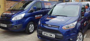 2 BBEL vans - Part of our exhibition freighting fleet