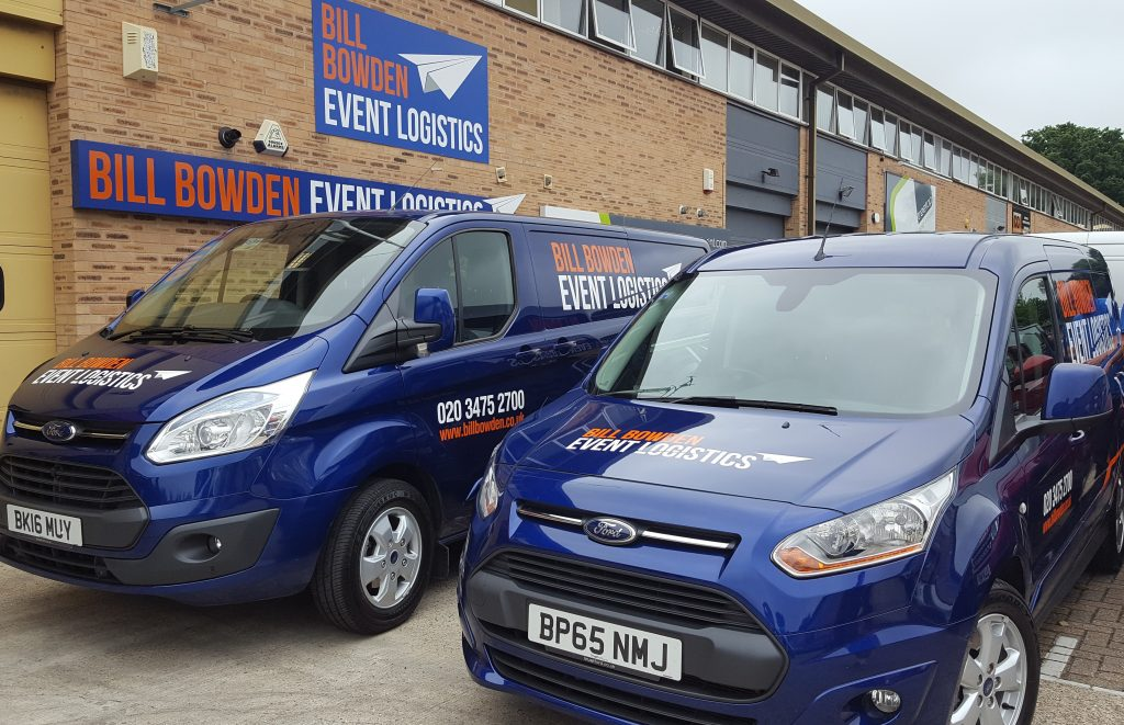 Bill Bowden Event Logistics vans at our South East offices in Crawley