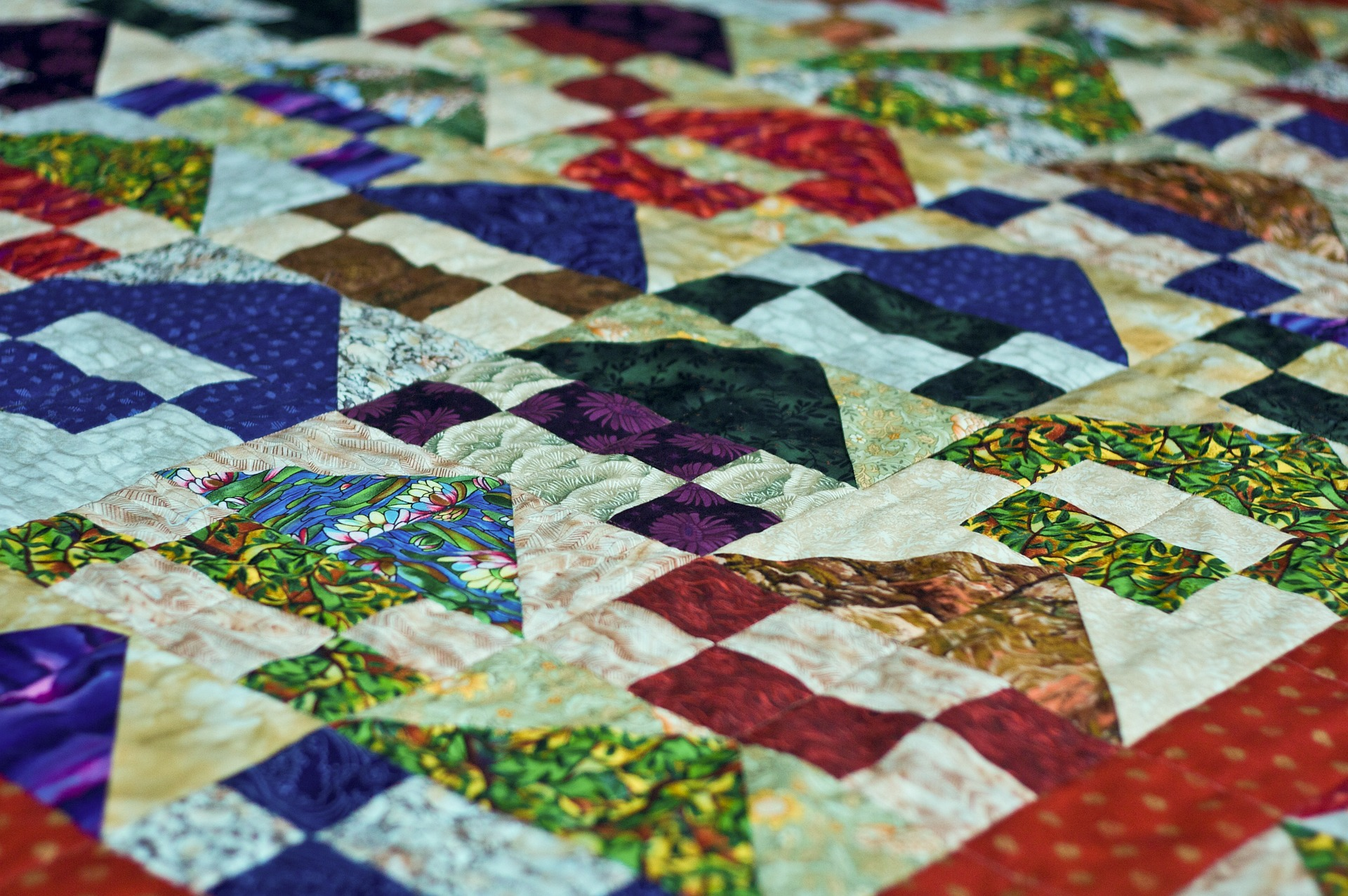 A colourful patchwork quilt