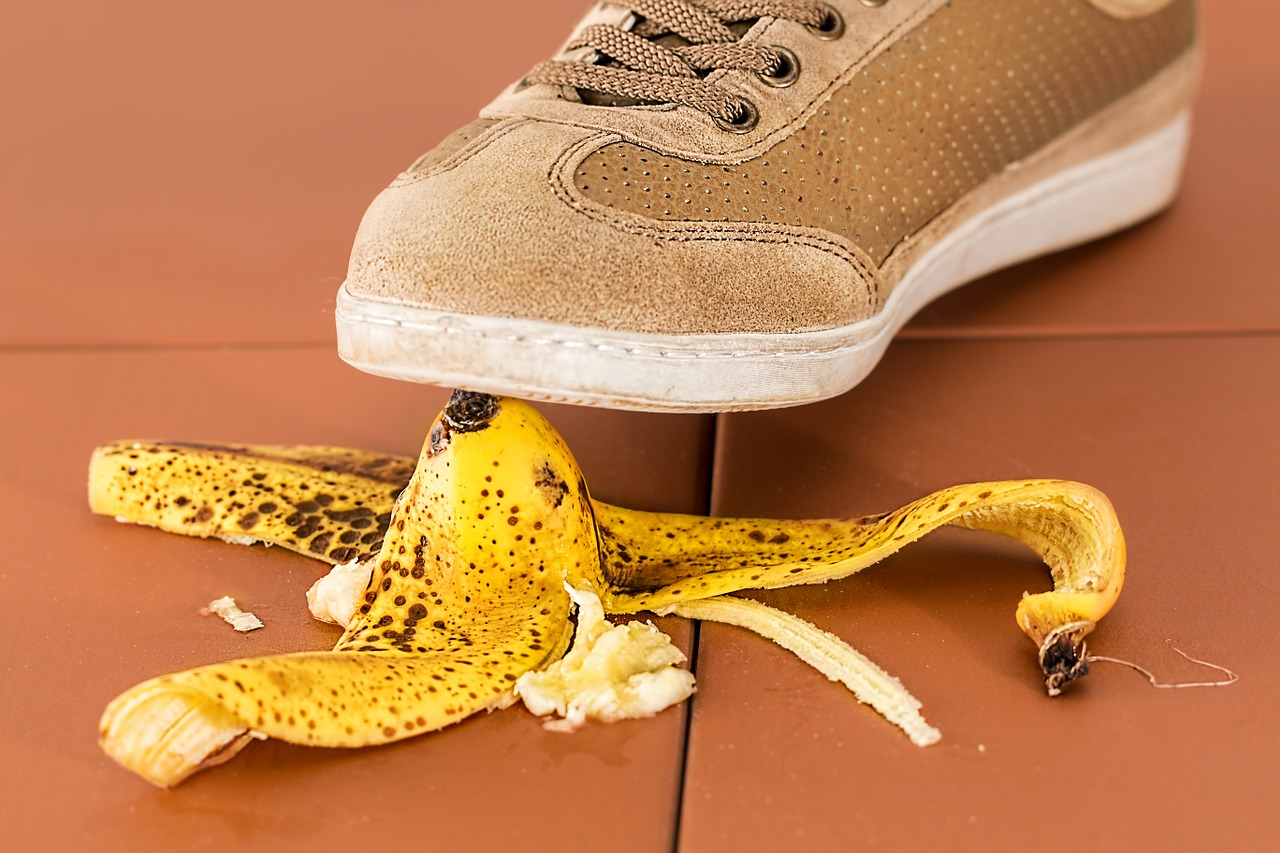 Foot about to tread on a banana skin - Trade shows mistakes