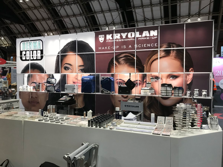 Kryolan's display for which we provide exhibition and event transport and build
