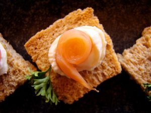 Canapé - Salmon on wholemeal bread with cream cheese